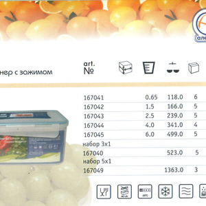 Контейнер для хранения пищевых продуктов с зажимом